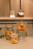 Biscuits in the kitchen. Some biscuits in the glass jar in the kitchen Stock Photo
