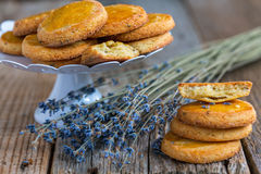 Biscuits with lavender. Royalty Free Stock Image