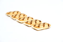 Biscuits with a layer of white chocolate. Japanese biscuits with a layer of white chocolate on white background Stock Photography