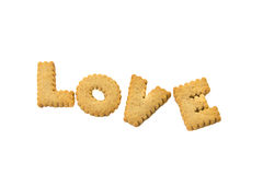 Biscuits love on white Royalty Free Stock Image