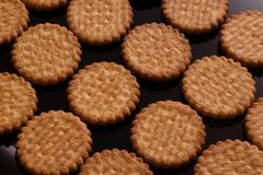 Biscuits lying in rows on a black lacquered surface. Close-up Royalty Free Stock Photography