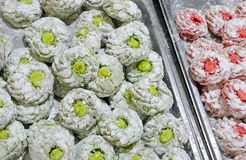 Biscuits made with almond paste and pistachios fruit f royalty free stock photo