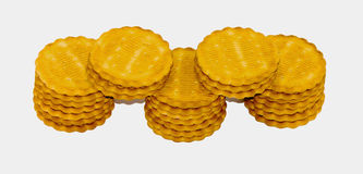 Biscuits. Many cookies on a white isolated background Stock Photo