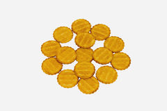 Biscuits. Many cookies on a white isolated background Royalty Free Stock Images