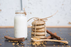 Biscuits naturels avec du lait photos stock