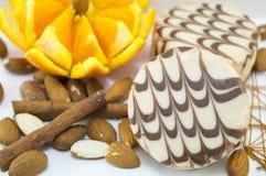 Biscuits noirs et blancs de chocolat décorés de l'orange fraîche Image libre de droits