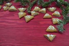 24 biscuits numérotés d'avènement sur le bois rouge Images stock