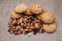 Biscuits with nuts and dried fruits Royalty Free Stock Photography