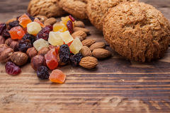 Biscuits with nuts and dried fruits Stock Image
