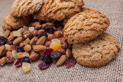 Biscuits with nuts and dried fruits Royalty Free Stock Image