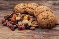 Biscuits with nuts and dried fruits Stock Images
