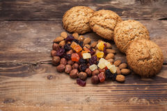 Biscuits with nuts and dried fruits royalty free stock photo