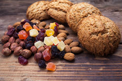 Biscuits with nuts and dried fruits Royalty Free Stock Photos