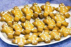 Biscuits ou bonhommes en pain d'épice de gingembre Images stock