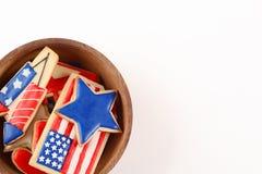 Biscuits patriotiques pour le 4ème juillet Photographie stock libre de droits
