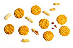 Biscuits with peanuts on white background royalty free stock images