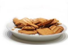 Biscuits on a plate. Close up of the biscuit cookies on a white plate Royalty Free Stock Images