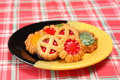 Biscuits on plate. Various kinds of biscuits on decorative dish Royalty Free Stock Photo