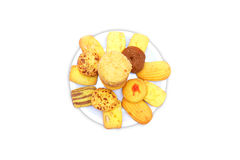 Biscuits in plate. Isolated on white background Royalty Free Stock Photos