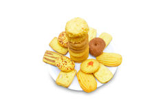 Biscuits in plate. Isolated on white background Royalty Free Stock Images