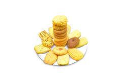Biscuits in plate. Isolated on white background Royalty Free Stock Photography