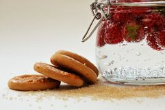 Biscuits with raspberries Stock Photos