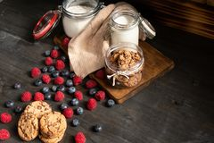Biscuits, raspberries and milk jar, with copyspace on right side royalty free stock photos