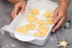 Biscuits sablés de vanille prêts à être fait cuire au four dans le plateau, avec le chil Image libre de droits