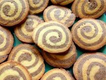 Biscuits sablés ronds de remous de chocolat Images libres de droits