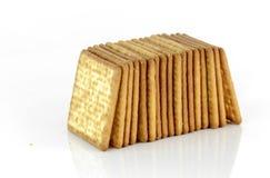 Biscuits salés d'isolement sur le fond blanc Images libres de droits