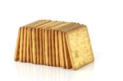 Biscuits salés d'isolement sur le fond blanc Photos libres de droits