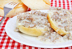 Biscuits, sausage and gravy Stock Photo
