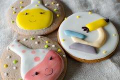 Biscuits scientifiques de style d'expérience pain d'épice avec le décor dans le style des expériences chimiques tubes de microsco image stock