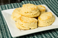 Biscuits or scones on white plate Royalty Free Stock Images