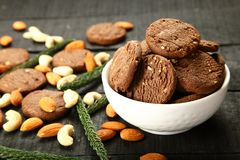 Biscuits secs frais de fruits de four sain Vue supérieure photos stock