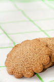 Biscuits in the shape of a flower on the kitchen tablecloth Stock Photography