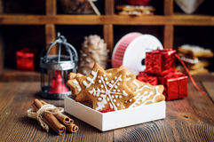 Biscuits shaped in Christmas stars Stock Image