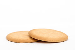 2 biscuits simples d'isolement sur le blanc Photos libres de droits