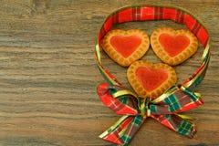 Biscuits sous forme de coeurs Images libres de droits
