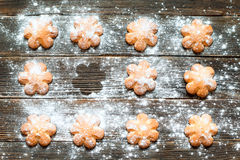 Biscuits sprinkled with powdered sugar on its surface. Horizonta. Butter biscuits brown color in the form of a flower sprinkled with powdered sugar on a dark Royalty Free Stock Images