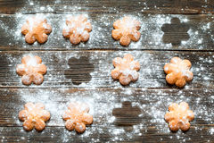Biscuits sprinkled with powdered sugar on its surface. Horizonta. Butter biscuits brown color in the form of a flower sprinkled with powdered sugar on a dark Stock Photos