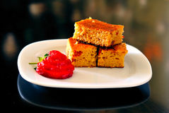 Biscuits and strawberry Stock Images