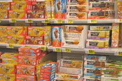 Biscuits on supermarket shelves stock photos