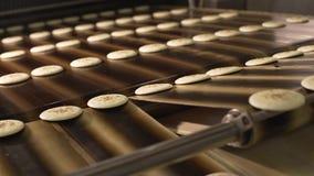 Biscuits sur le convoyeur Production des biscuits ronds clips vidéos