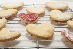 Biscuits sur une armoire de traitement au four en métal Photo libre de droits