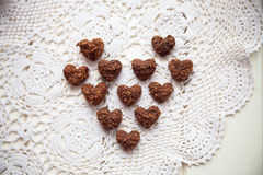 Biscuits, sweets laid out in a heart shape Stock Photography
