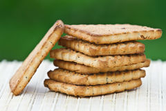 Biscuits on the table. On a green background Royalty Free Stock Photography