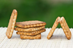 Biscuits on the table. On a green background Stock Image