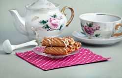 Biscuits and tea service Stock Photo