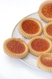 Biscuits topped with strawberry cream Stock Photo